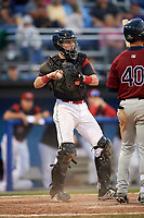 Batavia Muckdogs catcher Jared Barnes (26) throws the ball back to the pitcher during the first game of a doubleheader against the Mahoning Valley Scrappers on August 28, 2017 at Dwyer Stadium in Batavia, New York.  Mahoning Valley defeated Batavia 6-3.  (Mike Janes/Four Seam Images)