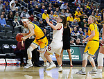 SIOUX FALLS, SD - MARCH 8: Michelle Gaislerova #22 of the North Dakota State Bison drives to the basket against Lauren Loven #3 of the Denver Pioneers at the 2020 Summit League Basketball Championship in Sioux Falls, SD. (Photo by Richard Carlson/Inertia)