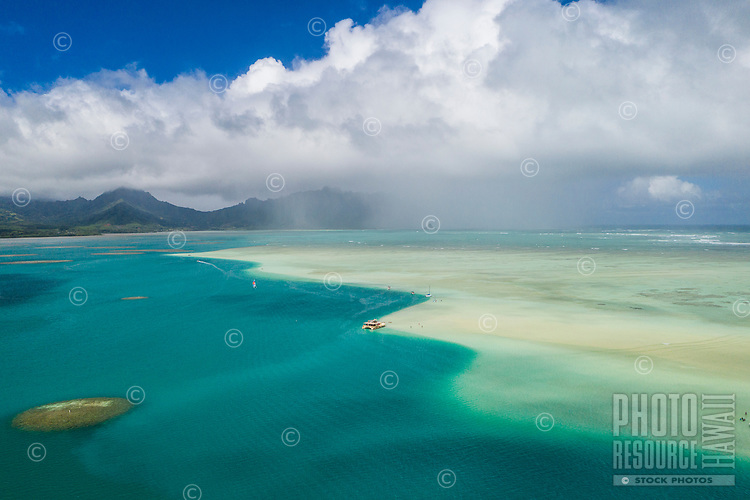 Aerial view of Kane'ohe Sandbar, or Ahu o Laka Islet, Kane'ohe Bay, Windward O'ahu.