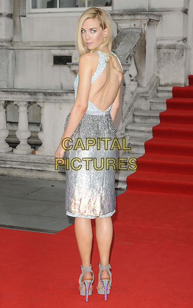 Vanessa Kirby<br /> attended the &quot;About Time&quot; UK film premiere to open Somerset House's Film4 season of outdoor cinema, Somerset House, the Strand, London, England, UK, 8th August 2013.<br /> full length silver dress hand on hip ankle strap shoes sandals cut out back rear behind <br /> CAP/CAN<br /> &copy;Can Nguyen/Capital Pictures