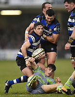 Darren Allinson of Bath Rugby. Anglo-Welsh Cup match, between Bath Rugby and Newcastle Falcons on January 27, 2018 at the Recreation Ground in Bath, England. Photo by: Patrick Khachfe / Onside Images