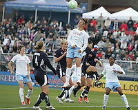 Carli Lloyd #10 of the Chicago Red Stars heads clear during a WPS match against the Washington Freedom at Maryland Soccerplex on April 11 2009, in Boyd's, Maryland. The game ended in a 1-1 tie