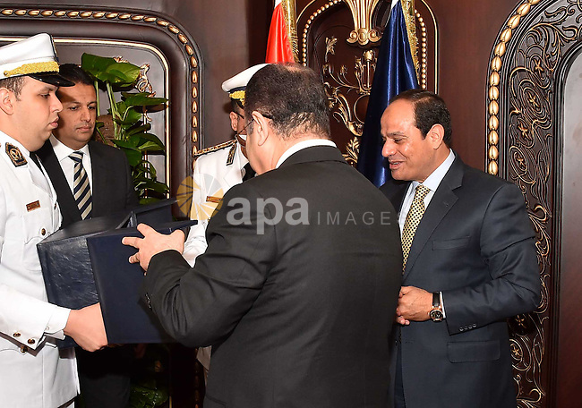 Egyptian President Abdel Fattah al-Sisi attends the opening of new Interior Ministry's headquarters in Cairo, Egypt, on April 27, 2016. Photo by Egyptian President Office