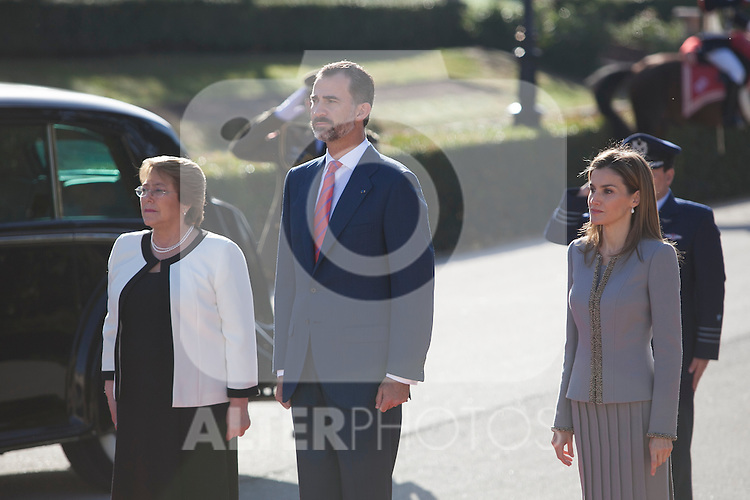 King Felipe VI of Spain and Queen Letizia of Spain during Chie´s President Michelle Bachelet Jeria reception at Pardo Palace in Madrid, Spain. October 29, 2014. (ALTERPHOTOS/Victor Blanco)