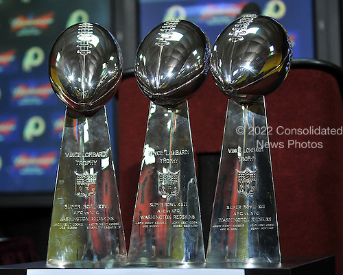 Ashburn, VA - March 3, 2009 -- The three Vince Lombardi Trophys won by the Washington Redskins commemorating their 3 Super Bowl victories are on display prior to the press conferences announcing the signings of DeAngelo Hall and Derrick Dockery at Redskins Park in Ashburn, Virginia on Tuesday, March 3, 2009..Credit: Ron Sachs / CNP