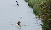 25 MAY 2014 - BRIGG, GBR - Tom Stead (GBR) of Great Britain paddles his kayak along the River Anchome during the World Quadrathlon Federation 2014 Middle Distance World Championships at the Brigg Bomber at Brigg in Lincolnshire, Great Britain (PHOTO COPYRIGHT © 2014 NIGEL FARROW, ALL RIGHTS RESERVED)