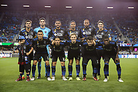 San Jose, CA - Saturday September 30, 2017: San Jose Earthquakes Starting Eleven during a Major League Soccer (MLS) match between the San Jose Earthquakes and the Portland Timbers at Avaya Stadium.