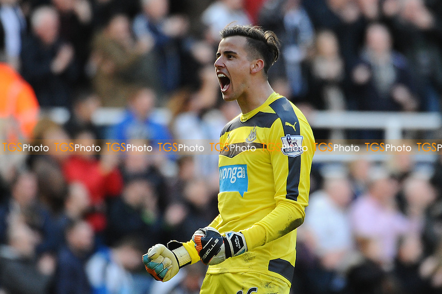 Karl Darlow of Newcastle United celebrate at the final whistle during Newcastle United vs Crystal Palace, Barclays Premier League Football at St. James' Park on 30th April 2016