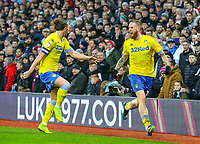 Leeds United's Pontus Jansson celebrates scoring his side's equalising goal to make the score 2-2, with Luke Ayling<br /> <br /> Photographer Alex Dodd/CameraSport<br /> <br /> The EFL Sky Bet Championship - Aston Villa v Leeds United - Sunday 23rd December 2018 - Villa Park - Birmingham<br /> <br /> World Copyright &copy; 2018 CameraSport. All rights reserved. 43 Linden Ave. Countesthorpe. Leicester. England. LE8 5PG - Tel: +44 (0) 116 277 4147 - admin@camerasport.com - www.camerasport.com