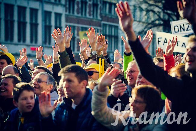enthusiasm all around for the morning team presentations<br /> <br /> 101th Ronde Van Vlaanderen 2017 (1.UWT)<br /> 1day race: Antwerp &rsaquo; Oudenaarde - BEL (260km)