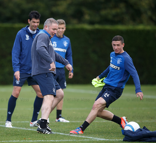 Ally McCoist at training after he is put into the middle by Fraser Aird's pass