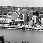Pittsburgh PA:  View of Pittsburgh's Gateway Center from Mount Washington - 1962.  Pittsburgh Press building under construction.