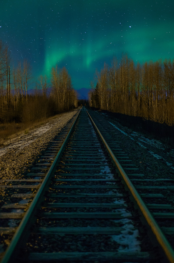 Aurora Borealis over Alaska Railroad.