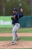 Cedar Rapids Kernels relief pitcher Jose Martinez (36) during a Midwest League game against the Kane County Cougars at Northwestern Medicine Field on April 28, 2019 in Geneva, Illinois. Kane County defeated Cedar Rapids 3-2 in game one of a doubleheader. (Zachary Lucy/Four Seam Images)