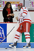 Whitney Delorey (BU - Team Manager), Max Nicastro (BU - 7) - The Boston University Terriers defeated the Merrimack College Warriors 6-4 (EN) on Saturday, January 16, 2010, at Agganis Arena in Boston, Massachusetts.