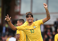 Goalscorer Lucas Paqueta of Brazil celebrates at full time but appears to injury himself in the process during the International match between England U20 and Brazil U20 at the Aggborough Stadium, Kidderminster, England on 4 September 2016. Photo by Andy Rowland / PRiME Media Images.