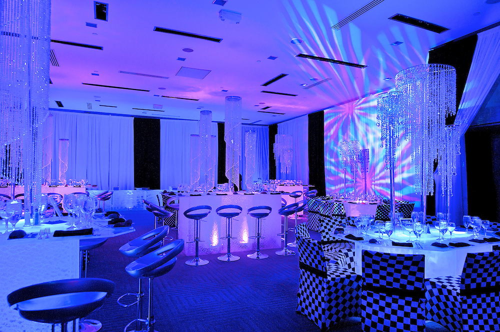 Room shot with colored lights from a B'Nai Mitzvah at The W Hotel.