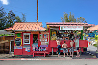 Customers at Aloha Juice Bar fruit stand in Hanalei, Kaua'i
