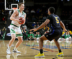 SIOUX FALLS, SD - MARCH 8: Brady Danielson #15 of the North Dakota Fighting Hawks looks for a teammate past the defense of Tionne Rollins #5 of the PFW Mastodons at the 2020 Summit League Basketball Championship in Sioux Falls, SD. (Photo by Dave Eggen/Inertia)