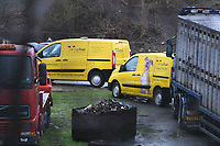 Pictured: Police, and members of the Dogs Trust and Pembrokeshire Council raid at a farm near Pembroke Dock in west Wales, UK. Tuesday 29 January 2019<br /> Re: Dozens of dogs have been removed from a property in a rescue operation over their welfare by staff from Pembrokeshire Council's animal welfare team, the Dogs Trust and Dyfed Powys Police.<br /> 37 dogs were removed from the property near Pembroke Dock in west Wales.<br /> The Dogs Trust said an investigation had been launched, and the health and welfare of the dogs was the priority.