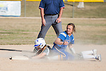 Western Nevada's Makaylee Jaussi (20) attempts a tag out at second base against Salt Lake Community College's Tina Ford (8) during the second game of a two game series in Carson City, Nev. on Saturday, March 7, 2015. Western Nevada was defeated in the second game by Salt Lake Community College 10-1. (Photo by Kevin Clifford/WNC).