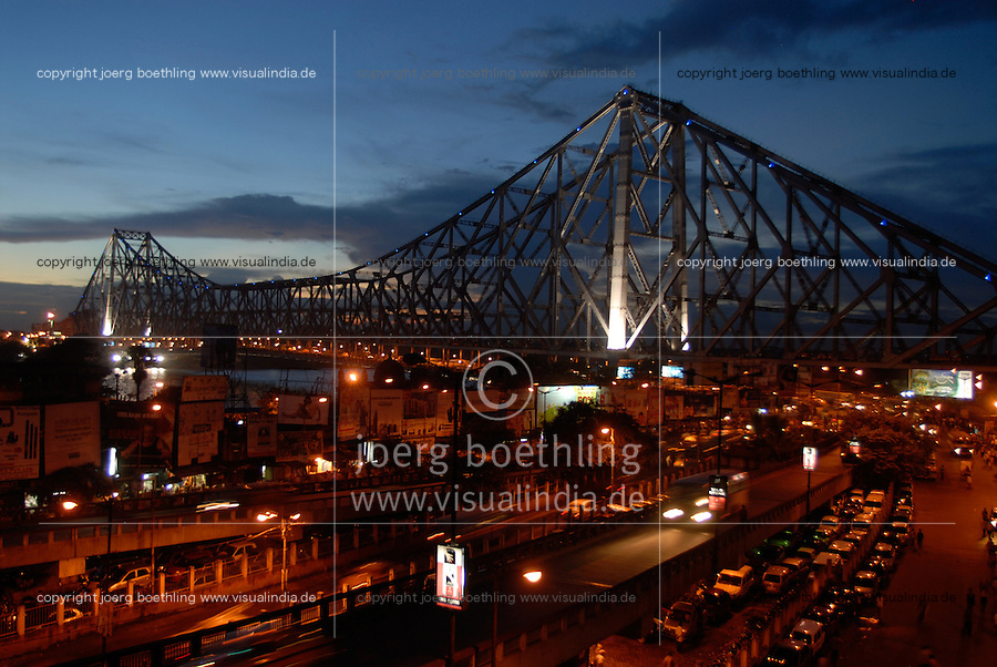 "Asien Suedasien Indien Westbengalen Megacity Kalkutta, Howrah Bruecke ueber den Fluss Hooghli bei nacht - Architektur Bruecken Verkehr xagndaz | .South asia India Westbengal Calcutta Kolkatta, Howrah bridge and Hooghli river at night - Megacities traffic light .| [ copyright (c) Joerg Boethling / agenda , Veroeffentlichung nur gegen Honorar und Belegexemplar an / publication only with royalties and copy to:  agenda PG   Rothestr. 66   Germany D-22765 Hamburg   ph. ++49 40 391 907 14   e-mail: boethling@agenda-fototext.de   www.agenda-fototext.de   Bank: Hamburger Sparkasse  BLZ 200 505 50  Kto. 1281 120 178   IBAN: DE96 2005 0550 1281 1201 78   BIC: ""HASPDEHH"" ,  WEITERE MOTIVE ZU DIESEM THEMA SIND VORHANDEN!! MORE PICTURES ON THIS SUBJECT AVAILABLE!!  ] [#0,26,121#]"