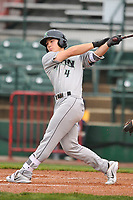 Dayton Dragons designated hitter Stuart Fairchild (4)swings at pitch against the Burlington Bees at Community Field on May 2, 2018 in Burlington, Iowa.  (Dennis Hubbard/Four Seam Images)