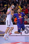 VELUX EHF 2017/18 EHF Men's Champions League Group Phase - Round 11.<br /> FC Barcelona Lassa vs HC Vardar: 29-28.<br /> Dainis Kristopans vs Timothey N'Guessan.