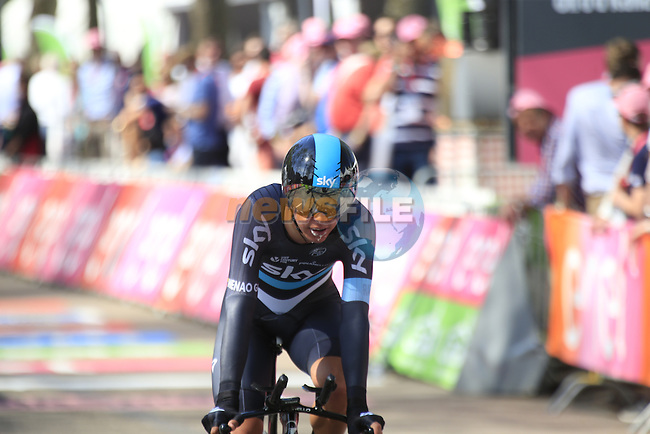 Sebastian Henao (COL) Team Sky crosses the finish line of Stage 1 of the 2016 Giro d'Italia, an individual time trial of 9.8km around Apeldoorn, The Nethrerlands. 6th May 2016.<br /> Picture: Eoin Clarke | Newsfile<br /> <br /> <br /> All photos usage must carry mandatory copyright credit (&copy; Newsfile | Eoin Clarke)