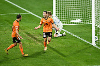 29th July 2020; Bankwest Stadium, Parramatta, New South Wales, Australia; A League Football, Melbourne Victory versus Brisbane Roar; Matthew Ridenton of Brisbane Roar celebrates his goal to make it 2-0 in the 78th minute