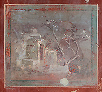 Small landscape fresco panel, 1st century AD, on the wall of the atrium of the Casa di Fabio Amandio, or House of Fabius Amandus, Pompeii, Italy. The fresco is in the Fourth Style of Roman wall painting, 60-79 AD, a complex narrative style. Pompeii is a Roman town which was destroyed and buried under 4-6 m of volcanic ash in the eruption of Mount Vesuvius in 79 AD. Buildings and artefacts were preserved in the ash and have been excavated and restored. Pompeii is listed as a UNESCO World Heritage Site. Picture by Manuel Cohen