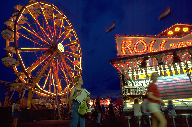 A county fair midway.