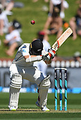 1st December 2017, Basin Reserve, Wellington, New Zealand; International Test Cricket, Day 1, New Zealand versus West Indies;  Tom Latham ducks a bouncer
