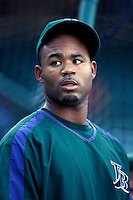 Carl Crawford of the Tampa Bay Rays during batting practice before a game from the 2007 season at Angel Stadium in Anaheim, California. (Larry Goren/Four Seam Images)