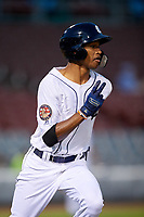 Connecticut Tigers left fielder Eric De La Rosa (19) runs to first base during a game against the Hudson Valley Renegades on August 20, 2018 at Dodd Stadium in Norwich, Connecticut.  Hudson Valley defeated Connecticut 3-1.  (Mike Janes/Four Seam Images)