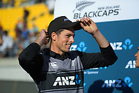 Man of the match Mitchell Santner. Twenty20 International cricket match between NZ Black Caps and England at Westpac Stadium in Wellington, New Zealand on Sunday, 3 November 2019. Photo: Dave Lintott / lintottphoto.co.nz