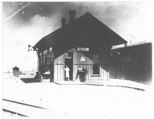 C&amp;S Dickey depot and rear portion of roundhouse.<br /> C&amp;S  Dickey, CO