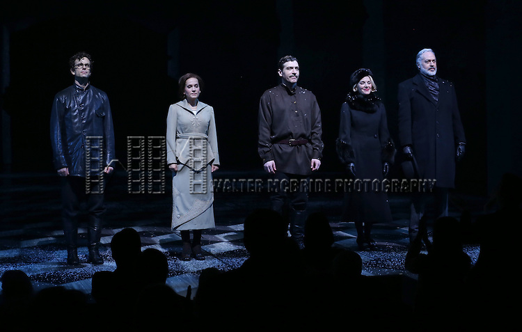 Paul Alexander Nolan, Lora Lee Gayer, Tam Mutu, Kelli Barrett and Tom Hewitt during the Broadway Opening Night Performance Curtain Call for 'Doctor Zhivago' at The Broadway Theatre on April 21, 2015 in New York City.