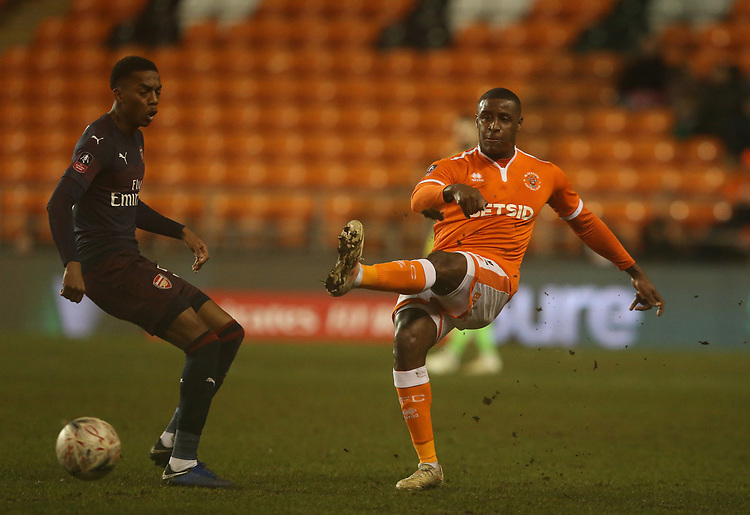 Blackpool's Donervon Daniels<br /> <br /> Photographer Stephen White/CameraSport<br /> <br /> Emirates FA Cup Third Round - Blackpool v Arsenal - Saturday 5th January 2019 - Bloomfield Road - Blackpool<br />  <br /> World Copyright © 2019 CameraSport. All rights reserved. 43 Linden Ave. Countesthorpe. Leicester. England. LE8 5PG - Tel: +44 (0) 116 277 4147 - admin@camerasport.com - www.camerasport.com