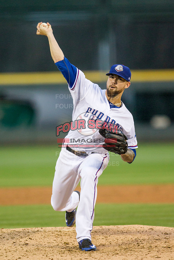 Round Rock Express pitcher Anthony Ranaudo (50) delivers a pitch to the plate during Pacific Coast League game against the Memphis Redbirds on April 21, 2015 at the Dell Diamond in Round Rock, Texas. Round Rock defeated Memphis 2-1. (Andrew Woolley/Four Seam Images)