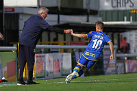 Solihull Moors manager, Tim Flowers hands notes to Mitch Hancox of Solihull Moors during Woking vs Solihull Moors, Vanarama National League Football at The Laithwaite Community Stadium on 24th August 2019