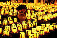Lanterns lit in preparation for the annual Obon Festival (The Festival of the Dead), where the lanterns are set afloat