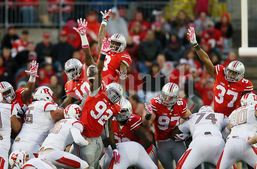 Ohio State players are unable to block a Rutgers field goal during an NCAA college football game between The Ohio State Buckeyes and the Rutgers Scarlet Knights at Ohio Stadium on Saturday, October 18, 2014.  (Columbus Dispatch photo by Fred Squillante)