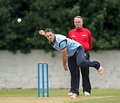 Cricket Scotland - T20 Blitz - Western Warriors Con de Lange bowls past Umpire Billy McPate - picture by Donald MacLeod - 03.09.08.2017 - 07702 319 738 - clanmacleod@btinternet.com - www.donald-macleod.com