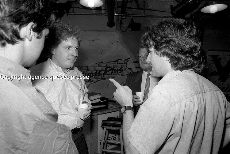 Pierre Marchand (L) talk with Jean Charest before his interview with Sonia Benezra at Musqiue Plus, June 26, 1987