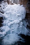 A frozen waterfall in Johnston Canyon in Canada