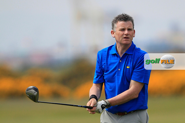 Greg Allen (RTE) on the 3rd tee during the Flogas Irish Amateur Open Championship Am-Am at Royal Dublin on Monday 9th May 2016.<br /> Picture:  Thos Caffrey / www.golffile.ie