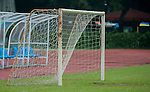 An empty soccer goal on July 26, 2012 at the Tianhe Sports Stadium in Guangzhou, China. Photo by Victor Fraile / The Power of Sport Images