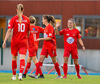 20200821 - Woluwe: Woluwe players celebrate the goal of Stephanie Suenens (facing forward right)  during a friendly match between Femina WS Woluwe vs K Wuustwezel FC on 21th of August 2020, in Stade Fallon, Woluwe. PHOTO: Sportpix.be | SEVIL OKTEM