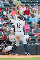 Dustin Fowler (18) of the Charleston RiverDogs at bat against the Hickory Crawdads at L.P. Frans Stadium on May 25, 2014 in Hickory, North Carolina.  The RiverDogs defeated the Crawdads 17-10.  (Brian Westerholt/Four Seam Images)